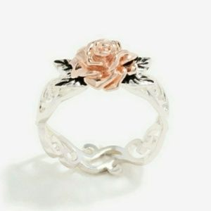 Jewelry - 🎀 925- 14k Rose Gold Rose Ring